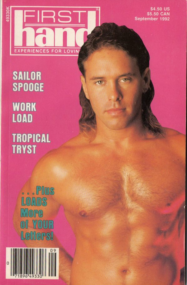 First Hand Experiences for Men, First Hand, Volume 12, Number 9, Released September 1992, Gay Male Stories, Gay Male Digest Magazine, GayVM, Gay Vintage Magazine,