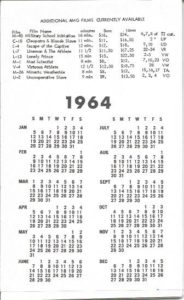 1964 Physique Movie Calendar Collection