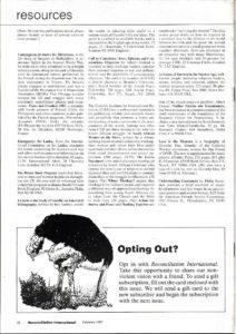 Reconciliation International - Prison Experiences - February 1987
