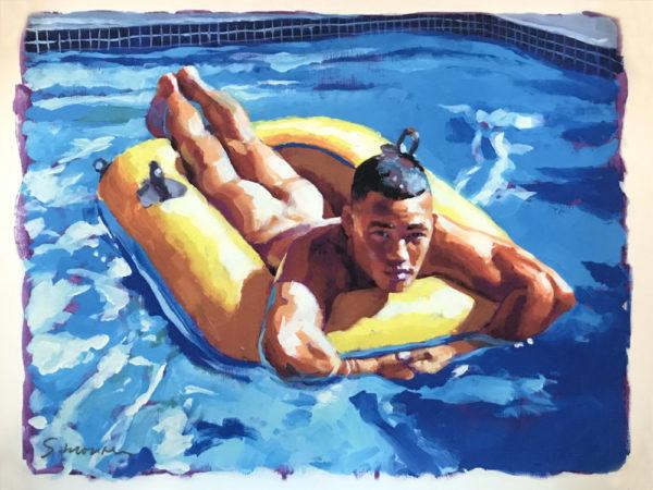"Douglas Simonson - Nude Boy Pool Float - Print 11x8.5"""