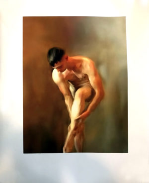 "Vintage Male Art Pose Water Color - 23x18"" Limited Print by Art XT"