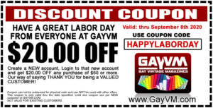 Get $20.00 OFF when you spend $50.00 or more when you use Coupon Code: HAPPYLABORDAY