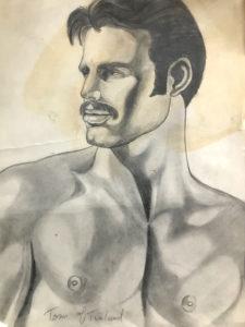 "Tom of Finland - Mustache Guy - Sketch Print 13.5x10.5"""