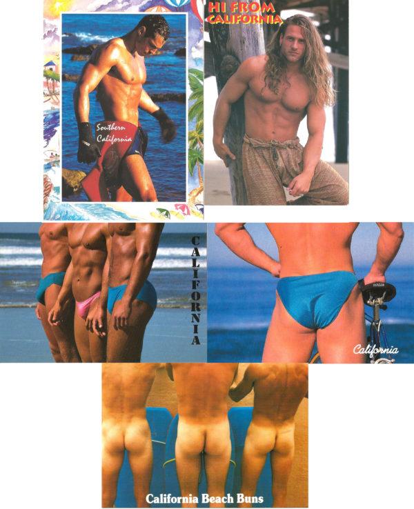 CALIFORNIA MEN - Set of 5 Vintage Postcards