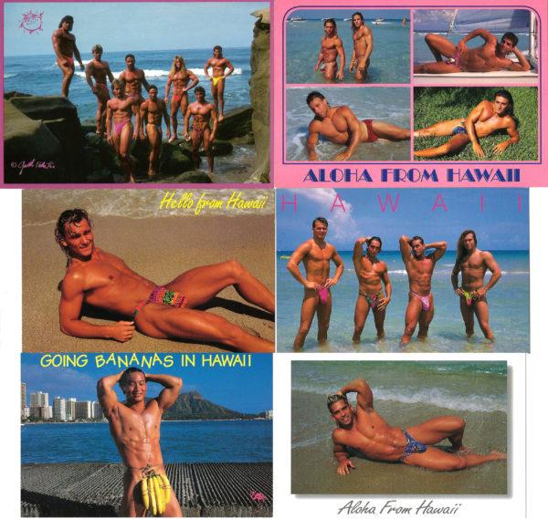 HAWAII BEACH BODS - Set of 6 Vintage Postcards