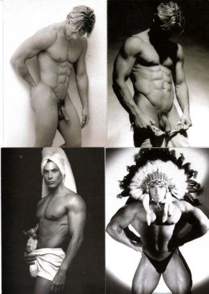 B&W SINGLE MALE NUDES - Set of 4 Vintage Postcards