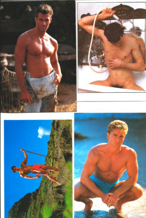 HANDSOME HUNKS - Set of 4 Vintage Postcards
