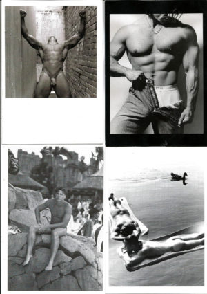 B&W MALE NUDES - Set of 4 Vintage Postcards