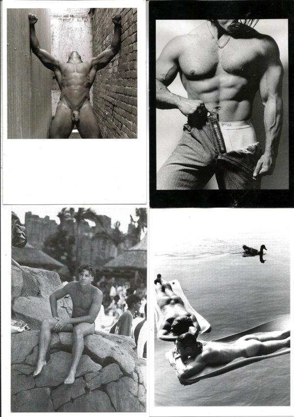 B&W MALE NUDES - Set of 4 Vintage Postcards