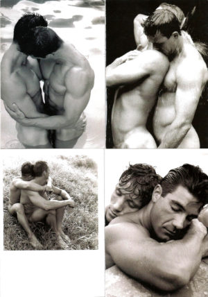 B&W NUDE MALE COUPLES - Set of 4 Vintage Postcards