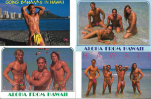 HAWAII HUNKS - Set of 4 Vintage Postcards