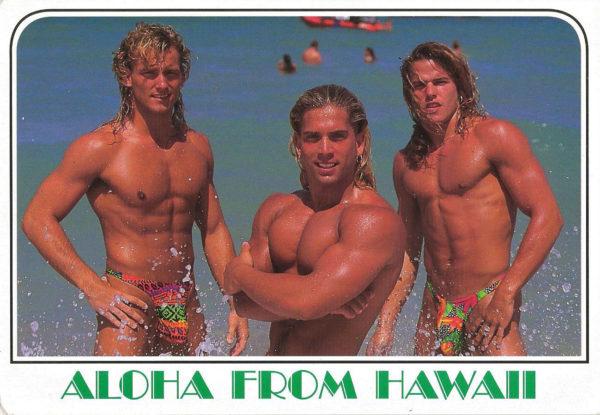 HAWAII HUNKS - Set of 4 Vintage Postcards
