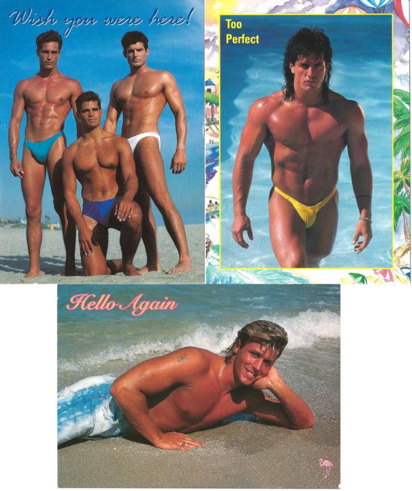 BEACH HUNKS - Set of 3 Vintage Postcards