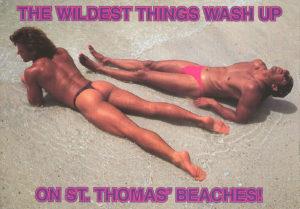 BEACH BUMS - Set of 4 Vintage Postcards