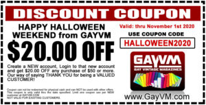 Get $20.00 OFF when you spend $50.00 or more at GAYVM and enter coupon code: HALLOWEEN2020 - Now thru November 1st