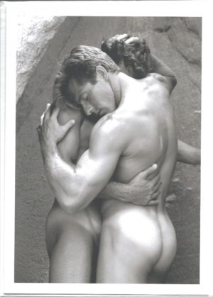 MALE NUDE COUPLE EMBRACE - Greeting Card (BLANK)