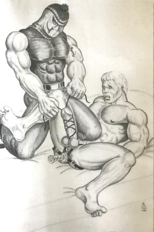 "Vintage - The HUN - Man Rammer Bottom Bondage - Print 17.25x11"""