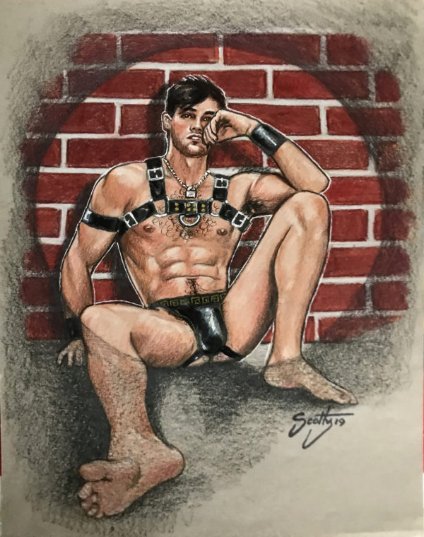 """LEATHER BOY - by Scotty - Watercolor 12x9"""" Signed"""