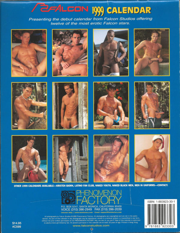 "RARE 11 x 8 inch ""FALCON 1999 Calendar"". One of the more celebrated, truly fine art photographers in the industry, showcases a way with the lens that is classic, transcending time and trend. This calendar is for the avid uniform muscle hunk lover! Condition: Excellent Paperback: Flip-Calendar Publisher: Phenomenon Factory Title: FALCON 1999 Calendar"