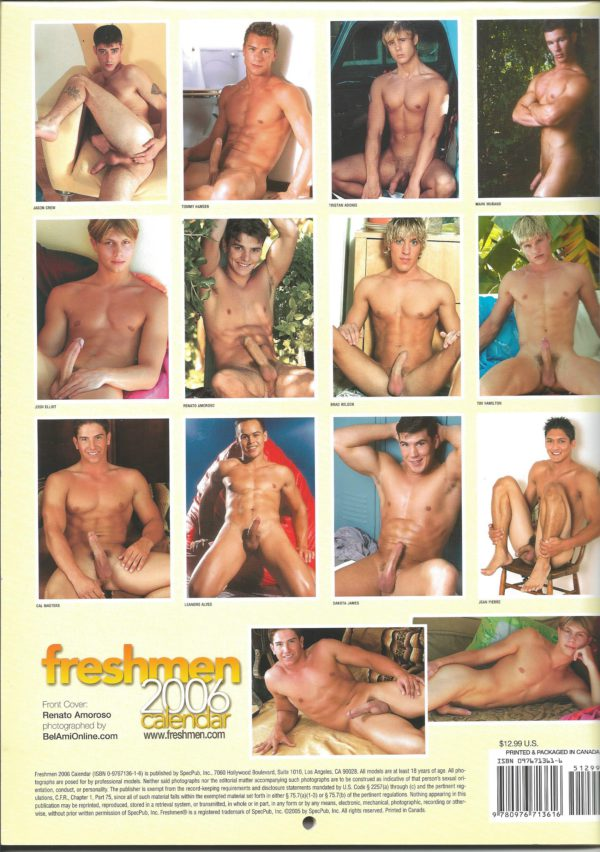 "RARE  11 x 8.75 inch ""FRESHMEN 2006 Calendar"". One of the more celebrated, truly fine art photographers in the industry, showcases a way with the lens that is classic, transcending time and trend. This calendar is for the avid jock lover! Condition: Excellent Paperback: Flip-Calendar Publisher: Steven Vaschon Title;: FRESHMEN 2006 Calendar"
