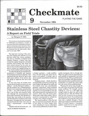 CHECKMATE 9 Gay Magazine Incorporating - Playing the Game - November 1994